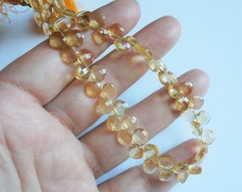 Genuine citrine diamond beads. Fine quality faceted citrine beads 6mm. Full strand 8.5''.