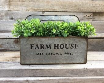 Galvanized Metal Planter Box, Farmhouse Metal Decor, Metal Planter, Rustic Farmhous Table Decor, Coffee Table Centerpieces, Boxwood Decor