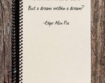 SALE - Edgar Allen Poe Journal - Edgar Allen Poe Quote