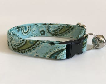Paisley paislies on aqua kitten or cat collar - you choose the size