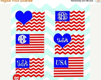 ON SALE Monogram flag Chevron Flag heart flag SVG and studio files for Cricut, Silhouette, Vinyl Cutters and Screen Printing