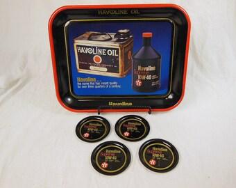 Texaco Havoline Oil Tray With Coasters, Texaco Tin Tray, Vintage