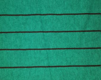 1 yard of green-black stripe cotton jersey knit