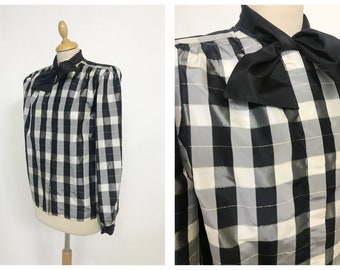 VALENTINO authentic vintage 1980s black and white gingham plaid print taffeta shirt blouse - size S/M