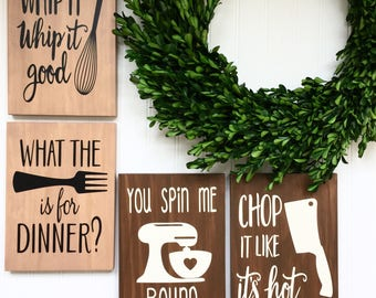Kitchen Decor - Set of 3 Funny Kitchen Signs - Rustic Kitchen Decor - Wedding Gift - Housewarming Gift - Kitchen Signs - Kitchen Quotes