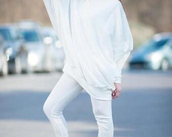 15% SUMMER SALE White Knit Top, Long White Tunic, Maxi White Loose Tunic, Knitting leggings, Casual Kniting White Set by EUGfashion