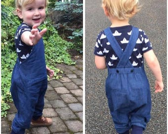 Kids Denim Dungarees, Toddlers  Harem Romper, Indigo Children's Salopettes, Toddlers Clothes, Baby overalls, Cuffed Dungarees, Cloth Bums.