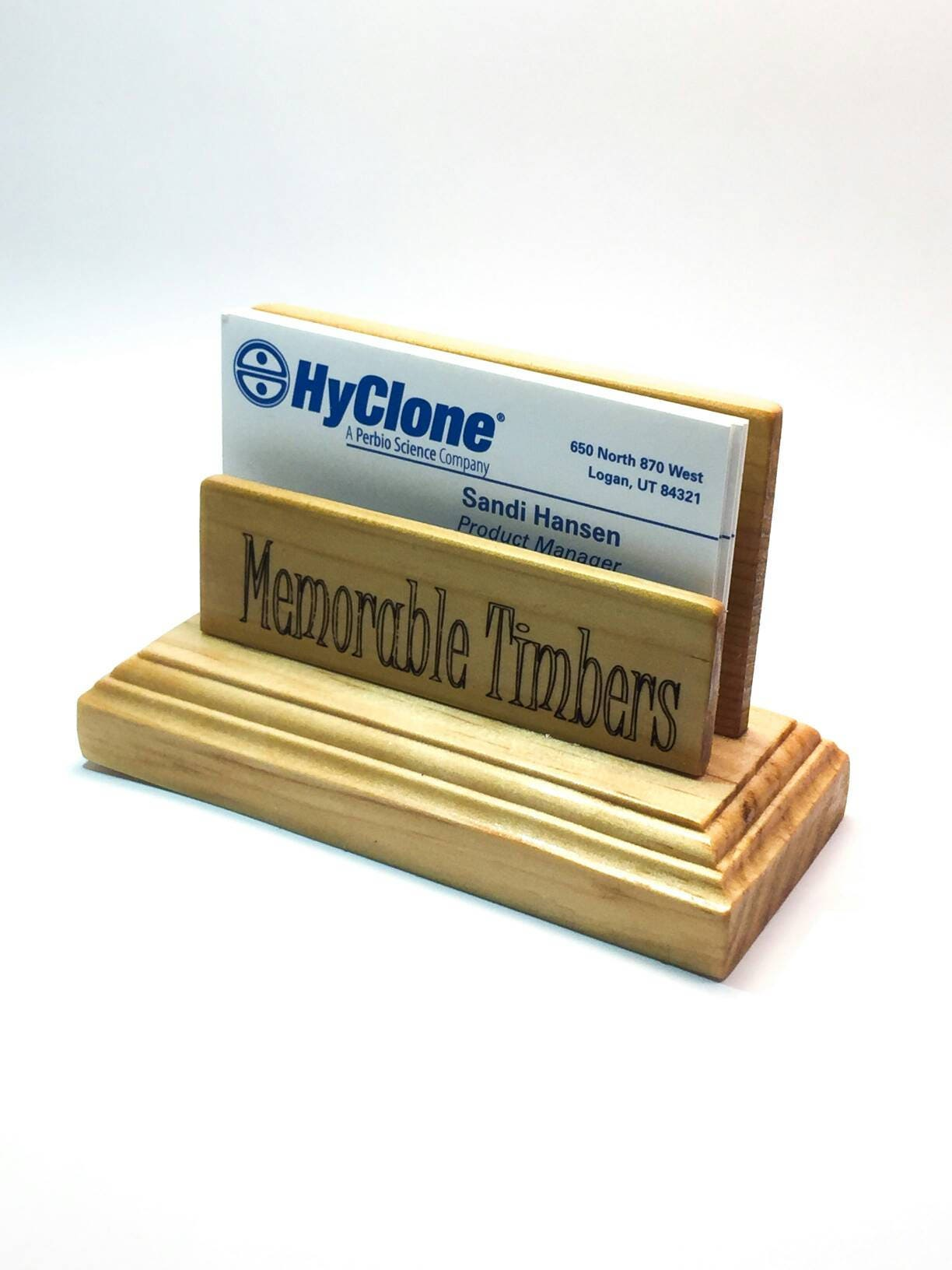 made to order wooden business card holder for desk personalized