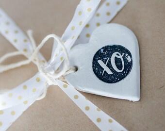 Set of 4 Clay Gift Tags, gift tags, clay tags, clay gift tags, xo tags, xo gift tags