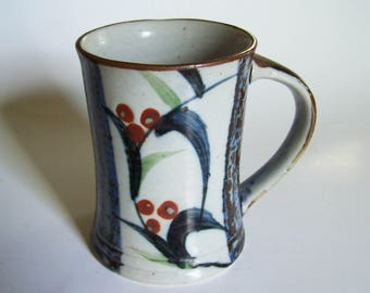 Vintage Otagiri Coffee Mug - Japanese Stoneware Mug - Hand Crafted - Made in Japan ca. 1960/70s - Cream, Blue, Brown Glaze