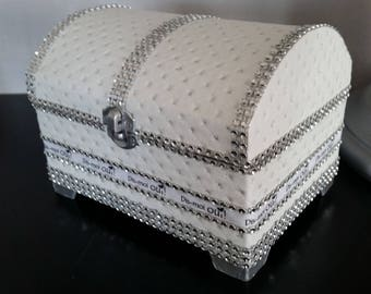 """In his treasure chest wedding ring pillow pirate deluxe, leather and rhinestone """"say yes"""""""