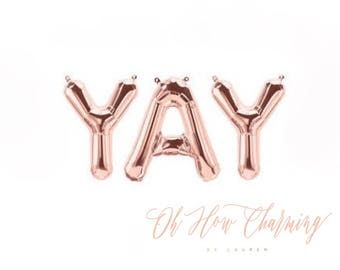 Yay Rose Gold Letter Balloons Yay Banner Rose Gold Balloons Bachelorette Party Engagement Party Bridal Shower Graduation Surprise Party