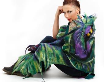 Dragon  shawl / Wings shawl / Silk scarf / Nuno felting / Handmade felted scarf / Merino wool / Scarf wings/ Made to Order/ / Free shipping.