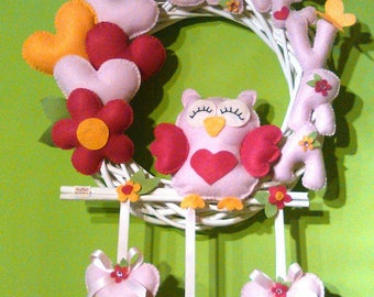 Garland stitchable gufetta in love with hearts and flowers