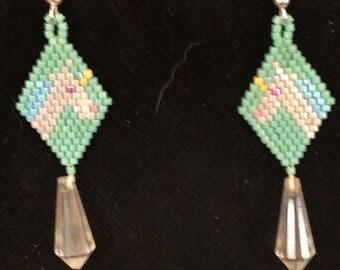 Unicorn Earrings Brick stitch