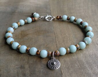 Amazonite bohemian bracelet boho chic bracelet womens jewelry gift for her boho bracelet rustic bracelet gemstone bracelet boho chic jewelry