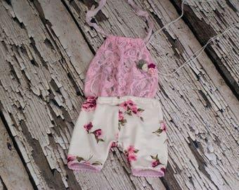 RTS, Newborn Romper Set, Sitter romper set, Baby romper, Romper, Baby girl romper set, White, Pink, Floral, Vintage, Lace, Photo Prop