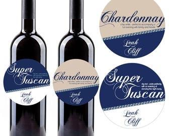Wedding Wine Bottle Labels, Printable Circular Wine Bottle Labels