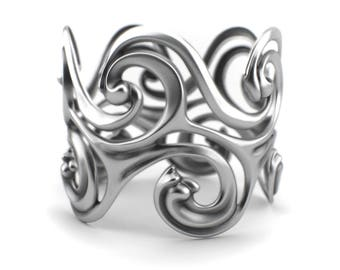 Surf Waves - Sterling Silver Cuff Bangle