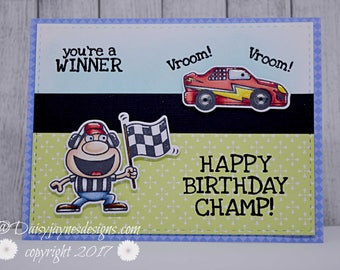 Handmade greetings card, Champ!, birthday card