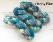 Variegated Blue-Sock yarn - Hand dyed yarn, 75/25% superwashed merino wool /nylon