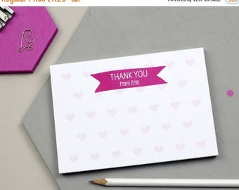 ON SALE Personalised Hearts Thank You Notepad - Fun Design - Personalised Notepad - Personalised Stationery - Note Card