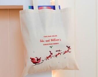 ON SALE Personalised Christmas Book Bag - Book Bag - Grocery Bag - Kids' Bag - Personalised