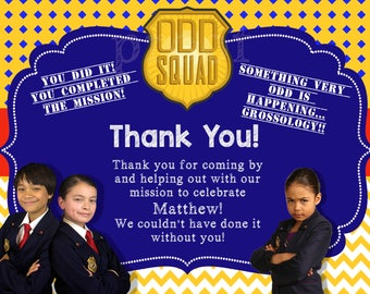 Oddsquad Odd Squad Personalized DIGITAL or PRINTED Thank You Cards