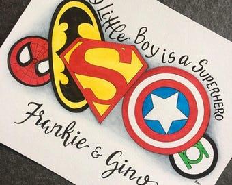 personalized superhero decor. Superhero nursery art. Superhero watercolor