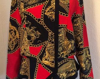Andrea Gayle Vintage 1980 Silky Blouse Retro Pattern