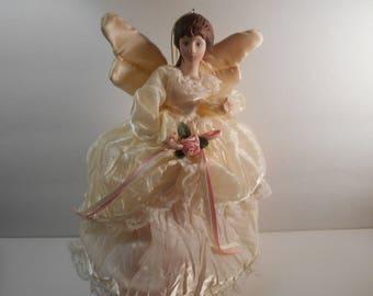 "Vintage Angel Tree Topper, Porcelain Angel with Fabric Dress, 9"" Angel Tree Topper, Elegant Porcelain Angel Tree Topper, Angel Ornament"