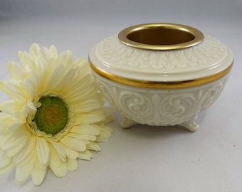 Lenox Ball Votive Holder, Embossed Ivory with Gold Trim