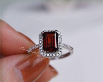 Natural Garnet Ring Garnet Engagement Ring Anniversary Ring Promise Ring