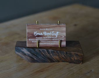 Walnut Business Card Holder, Wooden Card Holder, Wooden Phone Stand