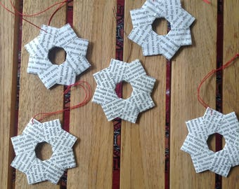 Recycled book Christmas wreath star ornaments 5-pack