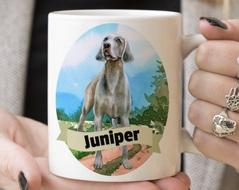 Weimaraner Custom Dog Mug - Get your dogs name on a mug - Dog Breed Mug - Great gift for dog owner - Weimaraner mug