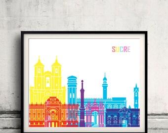 Sucre skyline pop - Fine Art Print Glicee Poster Gift Illustration Pop Art Colorful Landmarks - SKU 2385