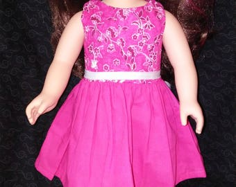 "18"" doll clothes. Doll Dress. Party Dress. Hot Pink. Summer Fun."