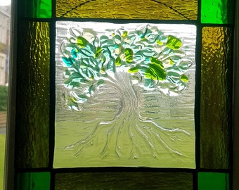 Tree of life fused and stained glass panel