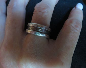 Rugged Silver On Silver Ring