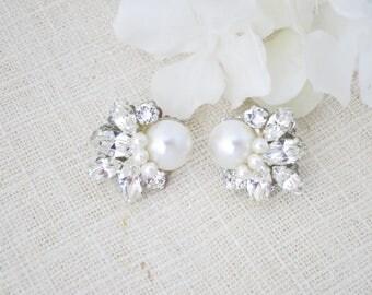 Marquise crystal earrings Swarovski crystal star earring Rhinestone and pearl bridal earrings Vintage style wedding earrings