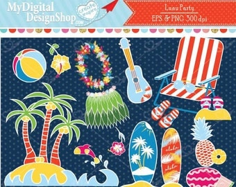 Luau Party Clipart EPS PNG,Tiki Beach Party Images,Island, Hawaiian tropical Art,Surfing board,Hawaiian lei,Skirt, Fruits,Sandals,Commercial
