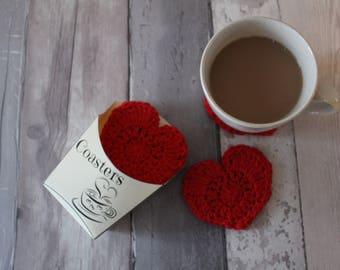 HEART COASTERS CROCHET pattern crochet download pattern download heart coaster heart coasters tea coffee coasters pattern valentine's gift