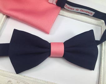 Bow tie and Pchette SET suit Navy Blue and pink Coral man