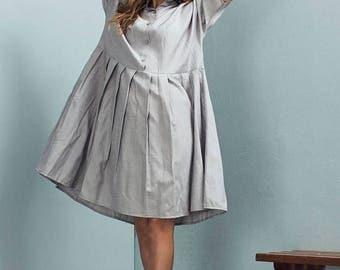 Sale - Oversized dress - Light grey dress - Loose dress - Casual dress - Pleated dress - Loose Fit Dress - Linen dress - Olivia dress