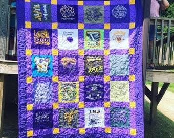 Queen Size Quilt, Custom T-Shirt Quilt, Graduation Quilt, Memorial Quilt, Wedding Quilt, College Quilt, Memory Quilt