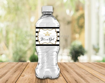 Water Bottle Labels, Party Labels, Black and White Stripes, Party Supplies, Party Favor, Crown, Princess, Printable, Instant Download T630A