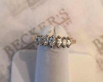 Vintage 14k yellow & white gold Pyramid Ring with 7 Graduated Marquise Cut Diamonds, .50 tw, I-SI2-I1, size 7
