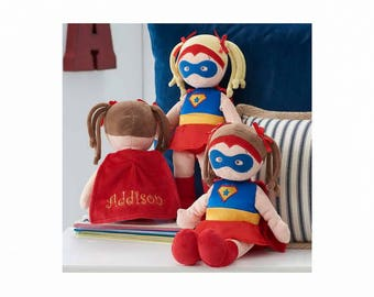 Personalized Dibsies Super Hero Doll - Brunette, 14 Inch