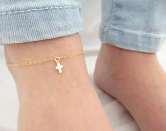 Cross anklet, Cross ankle bracelet, Cross jewelry, Religious symbol jewelry, Sterling Silver anklet, Rose gold fill  jewelry, Baby anklet